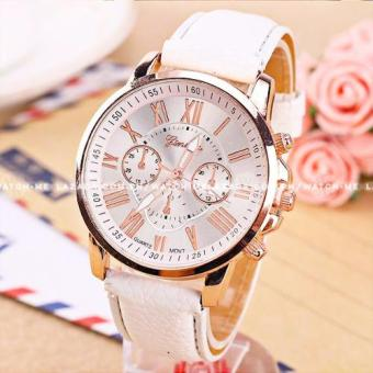 Geneva Women's Chronograph Style White Leather Strap Watch