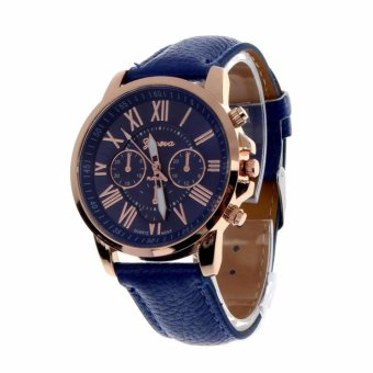 Geneva Women's Fashion Watch Roman Numerals Faux Leather Watch(Blue