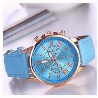 Geneva Women's Roman Pink Leather Strap Watch Celine Baby Blue