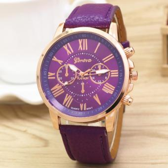 Geneva Women's Roman Pink Leather Strap Watch Celine Violet