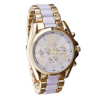 Geneva Women's White/Gold Stainless Steel Strap Watch withAdjustable C-SY-10-White with Free H-LX-JZ8814 Forever Couple Ring
