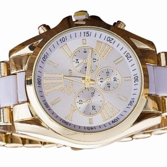 Geneva Women's White/Gold Stainless Steel Strap Watch withAdjustable C-SY-10-White with Free H-LX-JZ8814 Forever Couple Ring - 2