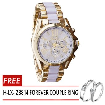 Geneva Women's White/Gold Stainless Steel Strap Watch withAdjustable C-SY-10-White with Free H-LX-JZ8814 Forever Couple Ring - 4