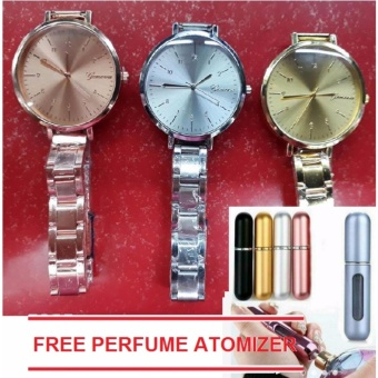 Geneva Yumie Slim Women's Wrist Watch 3 set (Rosegold,Gold,Silver) with FREE 1pc Perfume Atomizer (color may vary)