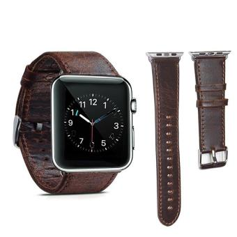 Genuine Leather 42mm Replacement Band with Secure Metal Clasp Buckle for Apple Watch Sport Edition - intl