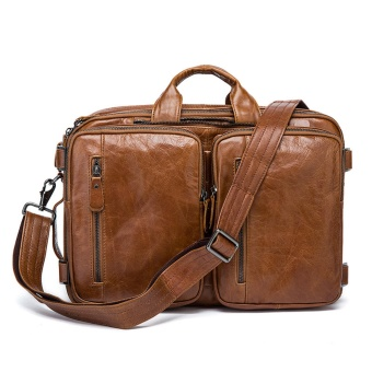Genuine Leather Men Bags Fashion Business Laptop Men's Briefcase Tote Shoulder Messenger Handbag Men's travel bag - intl