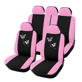 Gift Butterfly Fashion Style Front Rear Universal Car Seat Covers Luxury Cute Pink - intl