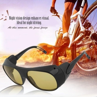 Gift Men Women Night Vision Driving Glasses Goggles Anti GlareAntiWind Goggles Black And Yellow - intl