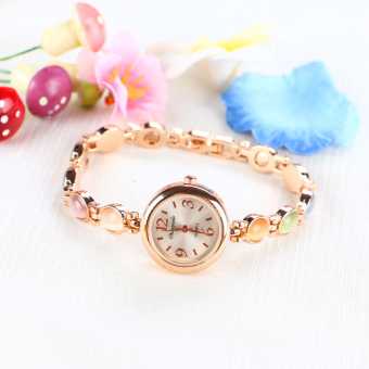 Girl's student steel gold watch bracelet watch