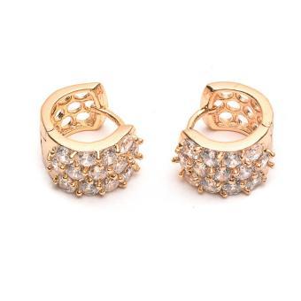 Glamorosa Chunky Polka Diamonds Hoop Earrings in Gold - 2