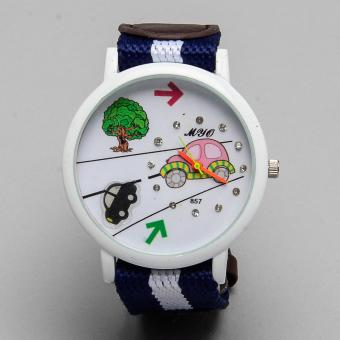 Glamorosa Clever Car Analogue Fabric Strap Watch for Teens(Blue/Brown)