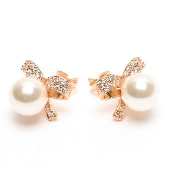 Glamorosa Creative Bow Tie Diamond Stud Pearl Earrings in Gold - 2