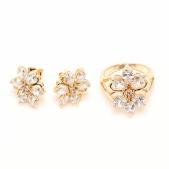Glamorosa Diamond Bow Butterfly Floral Accessories Set (Gold) - 3