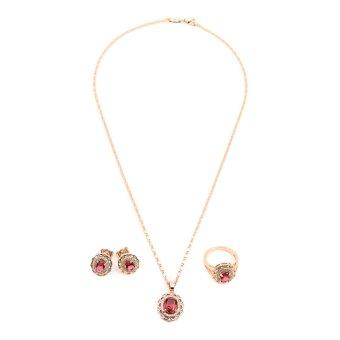 Glamorosa Diamond Pleasure in Pink Gem Oval Shape Accessories Set (Gold)