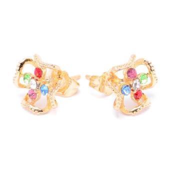 Glamorosa Dogwood Flower in Multi Gem Stud Earrings (Gold) Buy 1Take 1 - 3