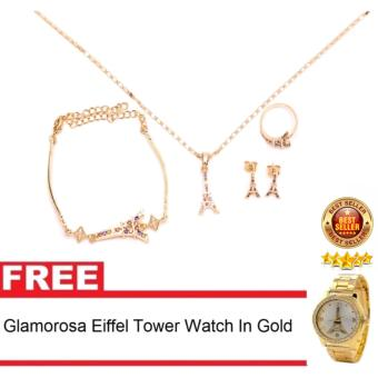 Glamorosa Eiffel Tower in Diamond Accessories Set (Gold) with Free Eiffel Tower Watch in Gold