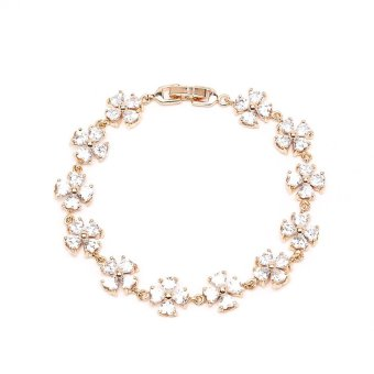 Glamorosa Four Clover Leaf Chain Bracelet (Gold)
