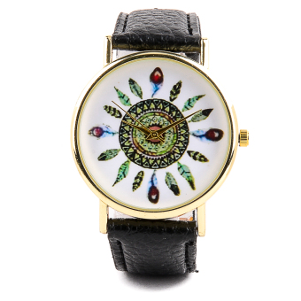 Glamorosa Geneva Tribal Feather Ladies Leather Watch (Black) Price Philippines