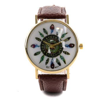 Glamorosa Geneva Tribal Feather Ladies Leather Watch (Brown) Price Philippines