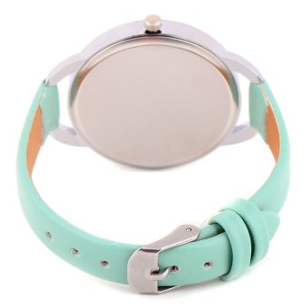 Glamorosa Geneve Ladies This Strap Leather Watch (Green) - 3