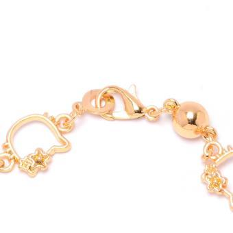 Glamorosa Kitty Peridot Stone Charm Bracelet (Gold) - 2