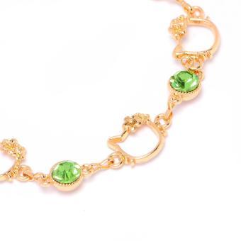 Glamorosa Kitty Peridot Stone Charm Bracelet (Gold) - 3