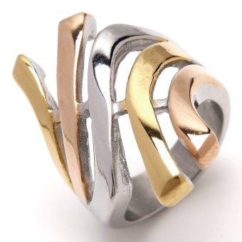 Glamorosa Mega Empire Ring In 3 Tone (Silver) - 2