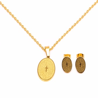 Glamorosa Oval Shape Bible Necklace and Earrings Set (Gold)