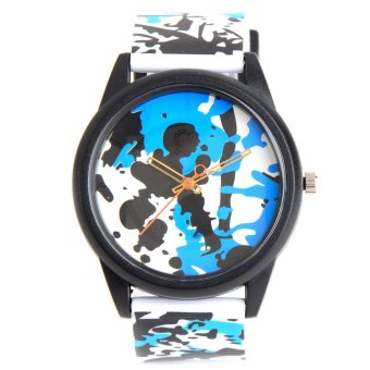 Glamorosa Q&Q Solar Powered Unisex Blue/White Paint SplashRubber Strap Watch