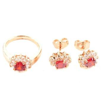Glamorosa Red Scarlet Jewelry Set (Gold)