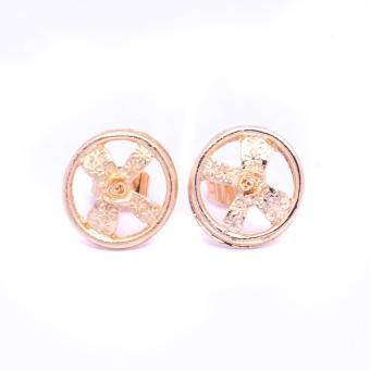 Glamorosa Round Ribbonized Stud Earrings (Gold) Buy 1 Take 2 - 2