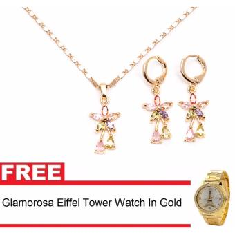 Glamorosa Two Tailed Floral in Multi Gem Necklace and Earrings Set (Gold) with Free Glamorosa Eiffel Tower Watch in Gold