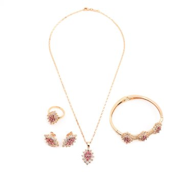 Glamorosa Vogue Diamond Stud in Pink Accessories Set with Bangle (Gold)