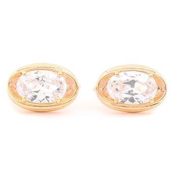 Glamorosa White Diamond Oval Shape Earrings (Gold) with Free Box - 2