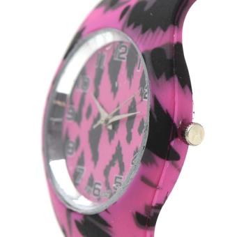 Glamorosa Women's Korean Animal Print Dark Pink Rubber Strap Watch