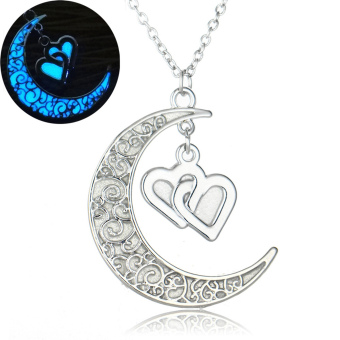 Glow In the Dark Statement Neckace Silver Plated with CrescentDouble Heart Choker Noctilucous Pendant Necklace for Women - intl