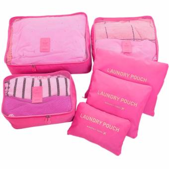 GMY 6 in 1 Waterproof Travel Organizer Toiletries Pouch Bags - HotPink