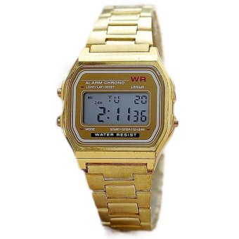 Gold & Silver Couple Watch Electronic Digital Clock With Led Light Clock (Gold) - intl Price Philippines