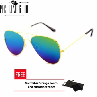 Gold Aviator Flash Lenses Multicolor Flash Straight Design