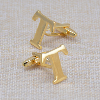 Gold English Lettered cuff buttons cufflinks