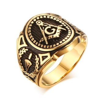 Gold Plated Vintage Freemason Symbol Masonic Ring for Men and Women- intl