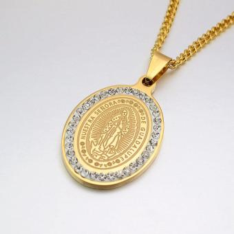 Gold Tone Stainless Steel Oval Crystals Our Lady of Guadalupe Saint Mary Pendant Necklace Curb Chain 60CM Long - Intl - 3