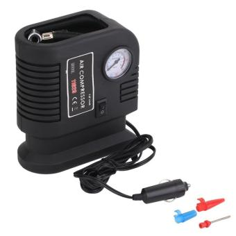 GOOD Portable 12V Car Air Compressor Pump Tire And 3 Adapter Electric Tyre Inflator black