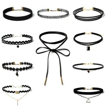 Gothic Choker, 10PC Retro Stretch Tattoo Lace Necklace Black - intl