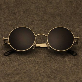 Gothic Round Frame Sunglasses Steampunk Fashion Sun Glasses Men's Driving Eyewear (Gold Frame & Black Lens)
