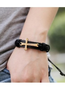 Gracefulvara Retro Punk Style Men's Cuff Surfer Tribal Hemp CrossCharm Wrap Wrist Bracelet (Black) Price Philippines