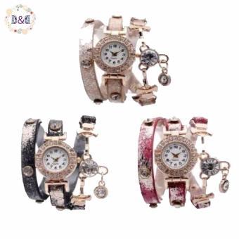 Greatnes D&D DS10011 Lady's Bracelet Watch Set of 3 (Rose/Black/Gold)