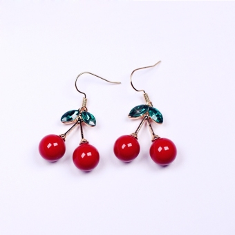 Green leaves red cherry ear acupuncture hidden ear clip