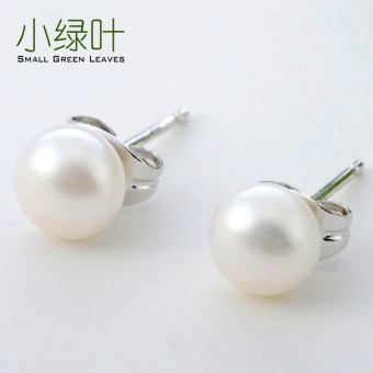 Green Leaves s925 small silver freshwater real pearl stud
