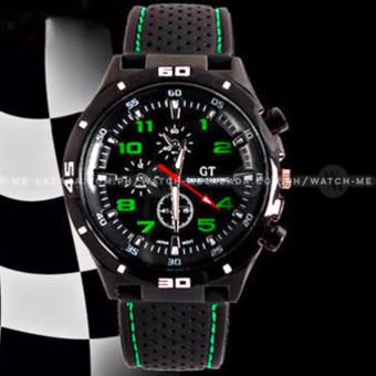 GT Men's Sports Racing Chronograph Style Black Silicone Strap Watch (Green) - 2